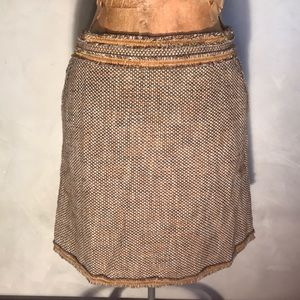 Red Valentino Wool Brown Gold Threading Skirt R11